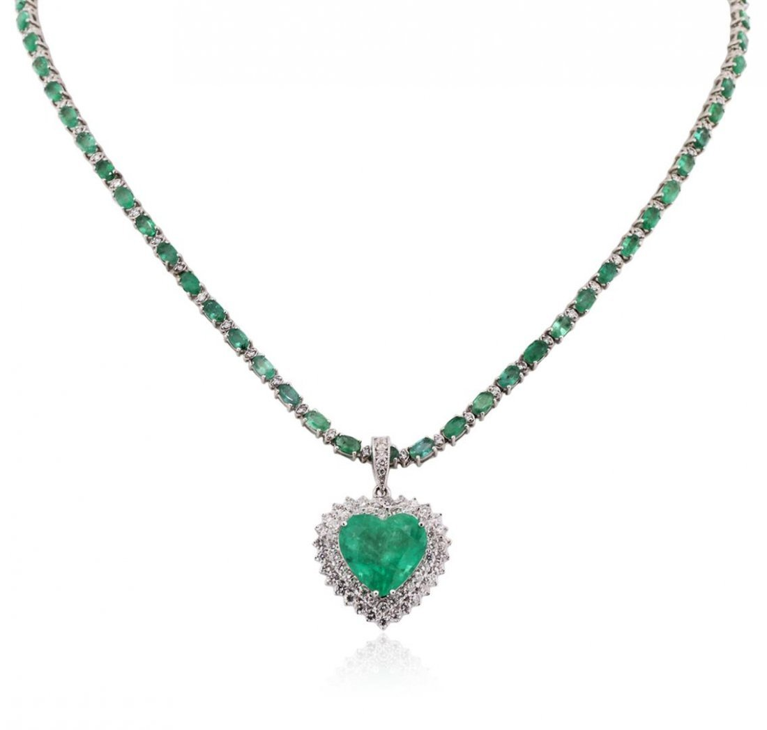 14-18KT White Gold 23.29 ctw Emerald and Diamond