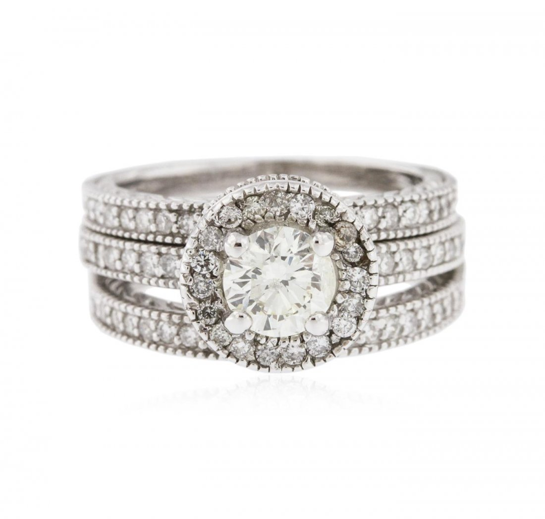 14KT White Gold 1.87 ctw Diamond Ring Wedding Set
