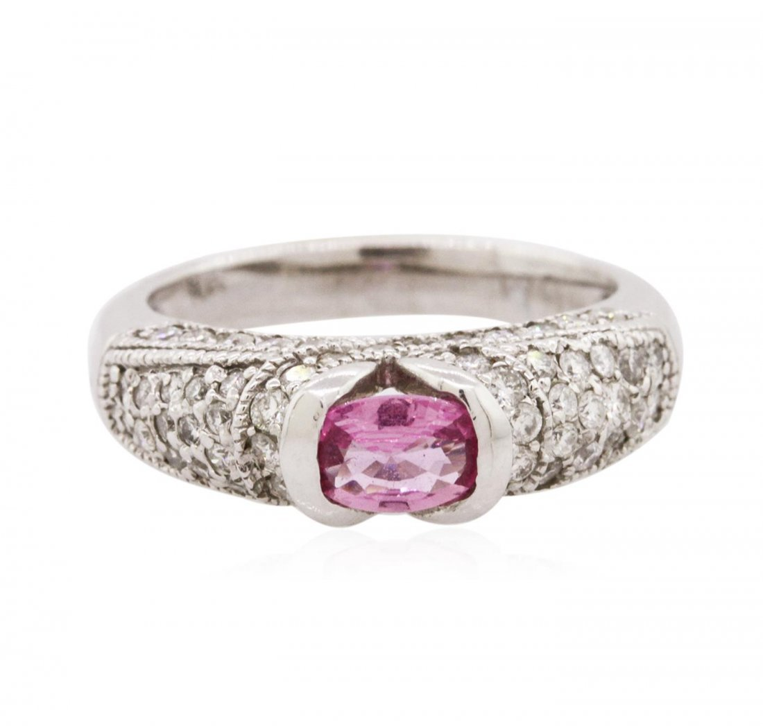 14KT White Gold 0.43 ctw Pink Sapphire and Diamond Ring