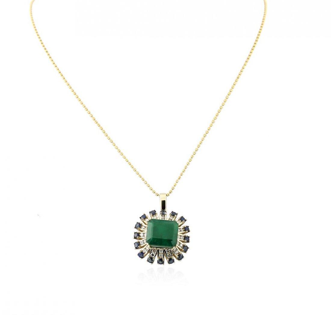 14KT Rose Gold 7.68 ctw Emerald, Sapphire and Diamond