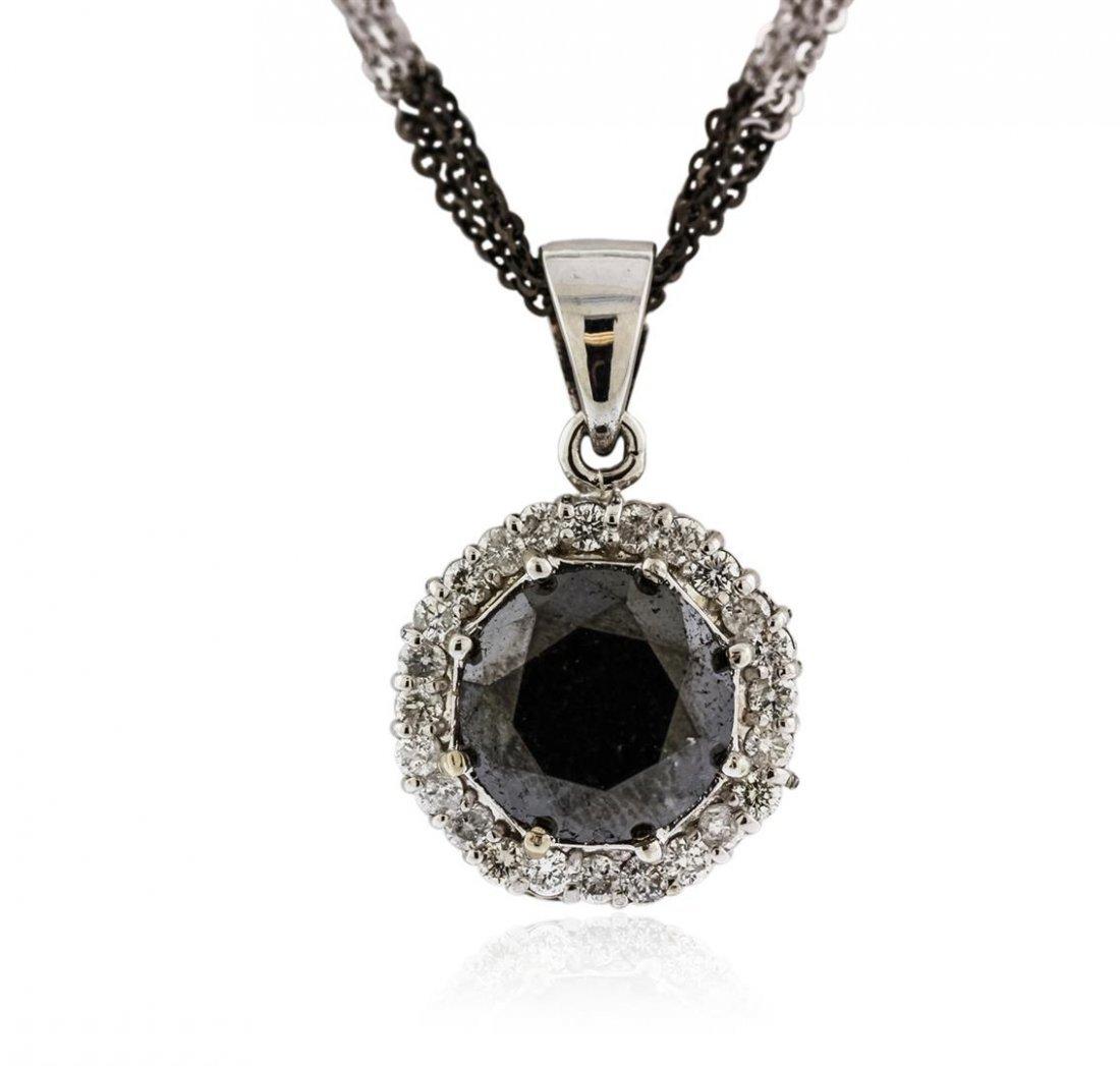 14KT White Gold 8.69 ctw Black Diamond Pendant With