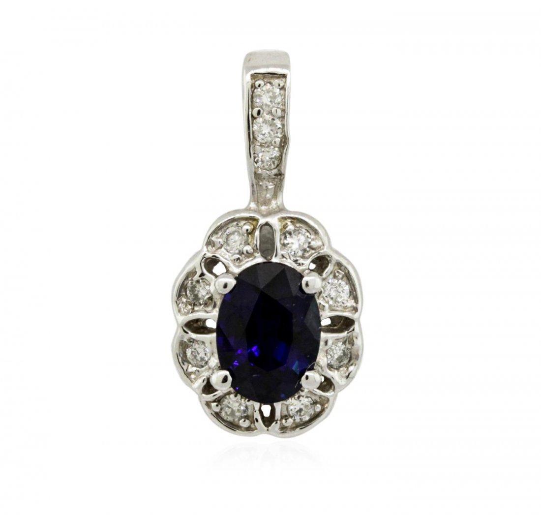 14KT White Gold 1.09 ctw Sapphire and Diamond Pendant