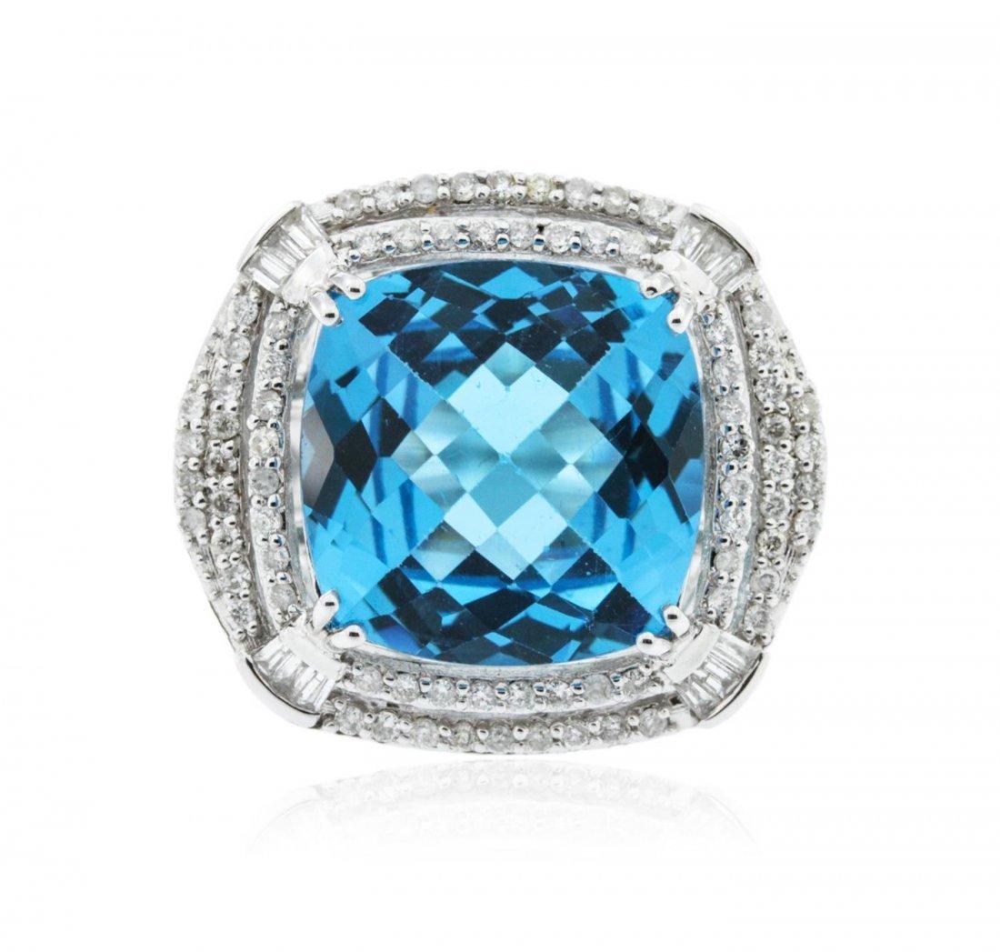 14KT White Gold 13.29 ctw Topaz and Diamond Ring