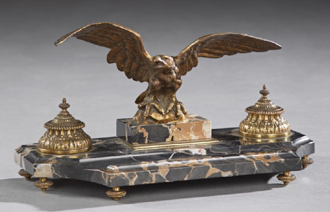 French Gilt Bronze and Highly Figured Black Marble