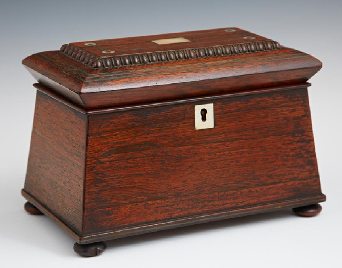 English Carved Inlaid Rosewood Tea Caddy, c. 1830, of