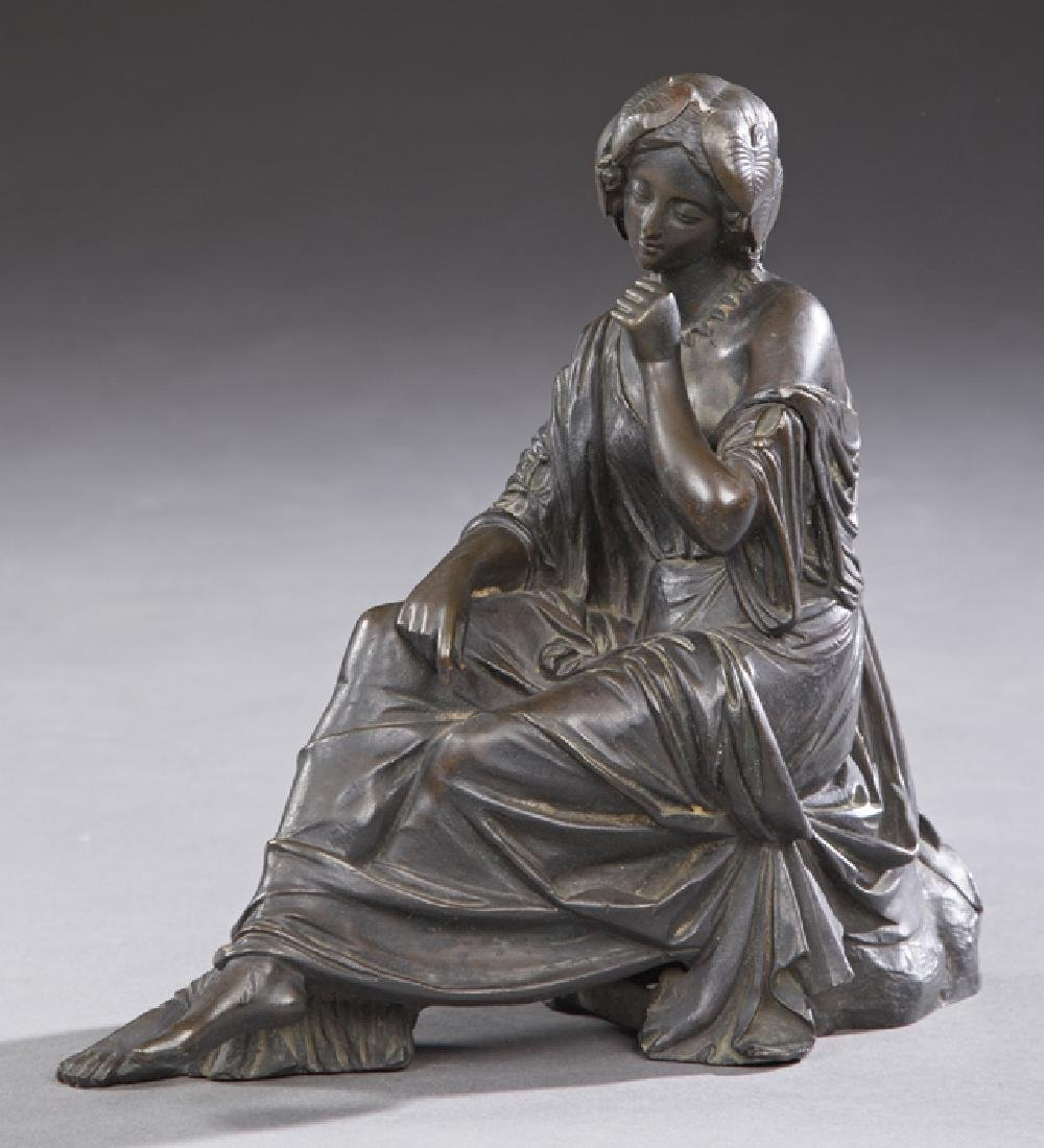 Patinated Bronze Clock Figure, 19th c., of a
