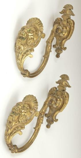 Pair of French Bronze Curtain Tiebacks, 19th c., with