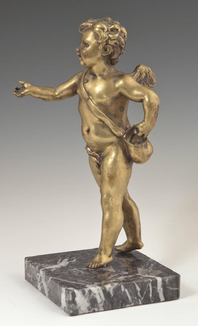 Gilt Bronze Figure of a Winged Putto, 19th c., with a