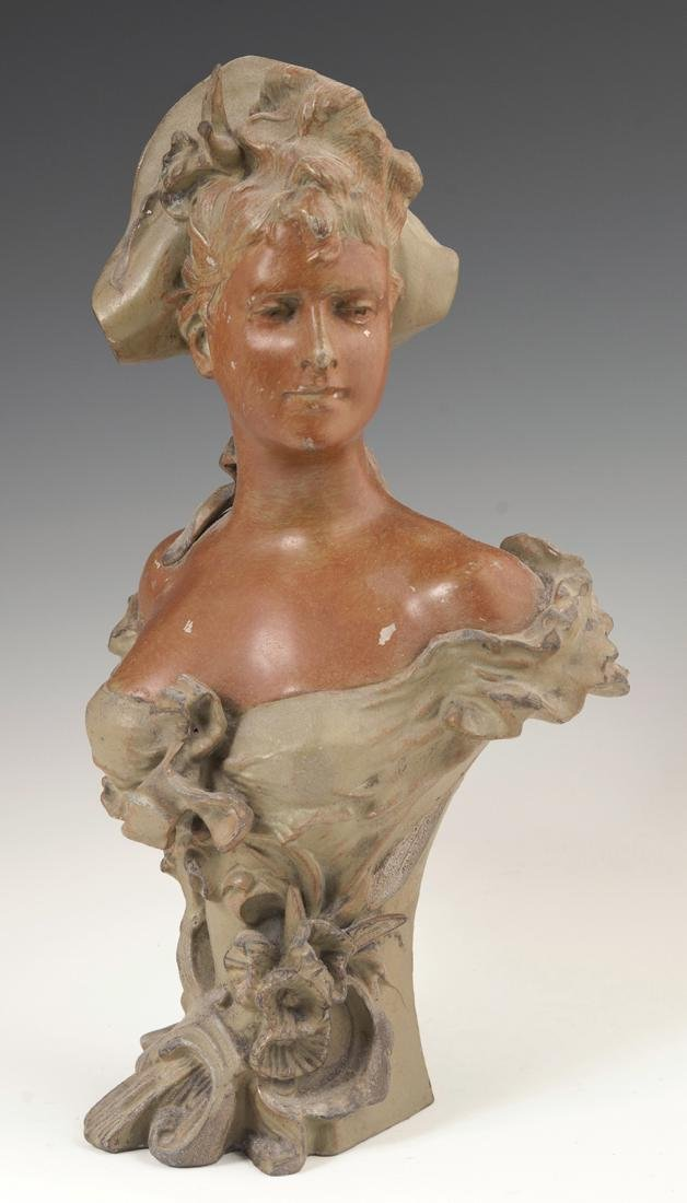 Art Nouveau Patinated Spelter Bust, c. 1900, of a woman