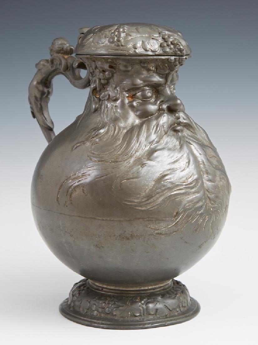"""Pewter """"Bearded Man"""" Tankard, late 19th c., the lid"""