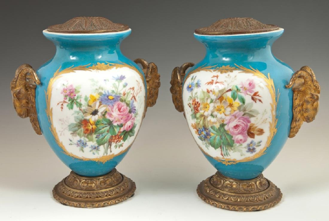 Pair of Bronze Mounted Sevres Style Porcelain Vases,