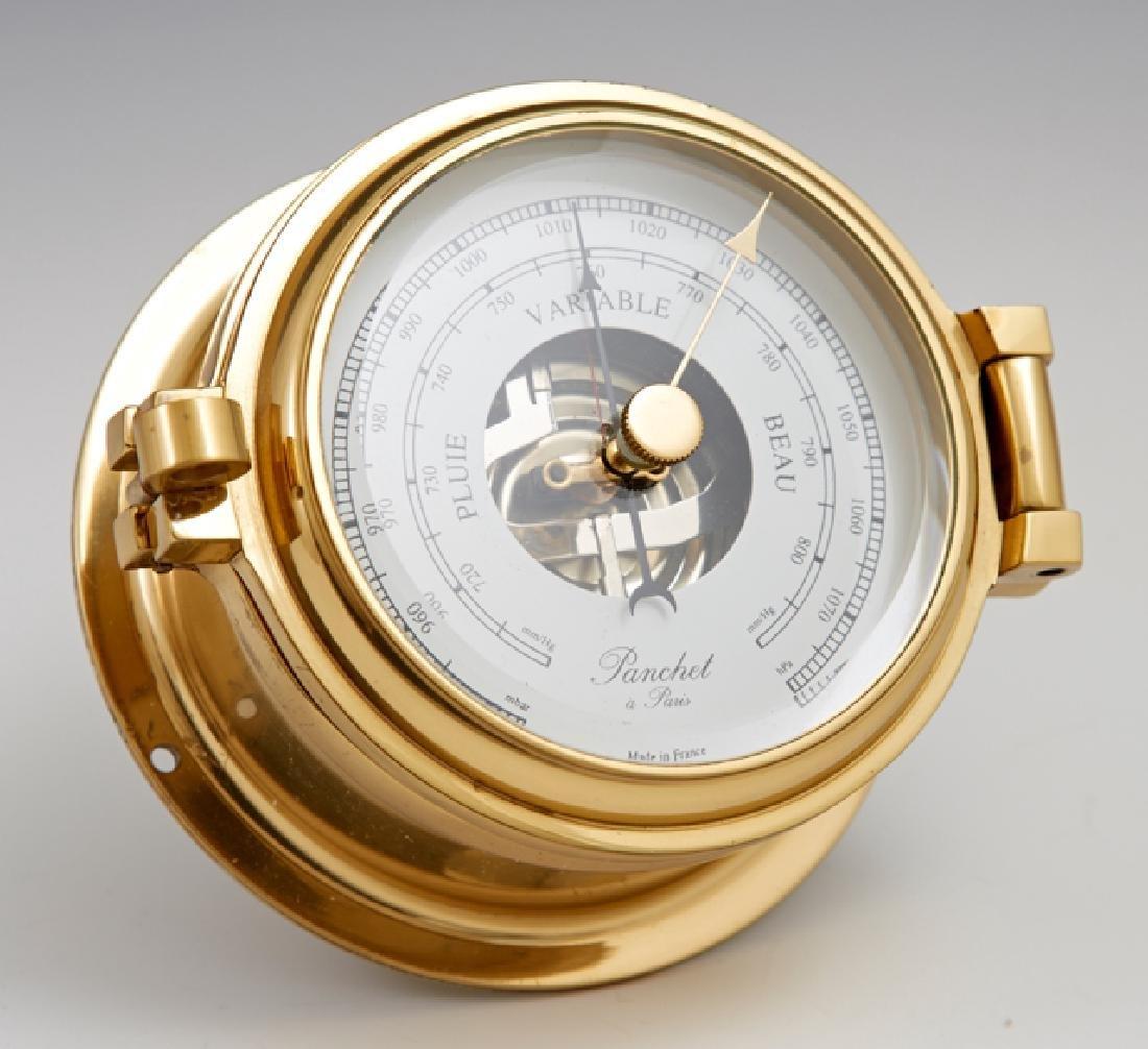 Diminutive French Brass Marine Barometer, 20th c., by