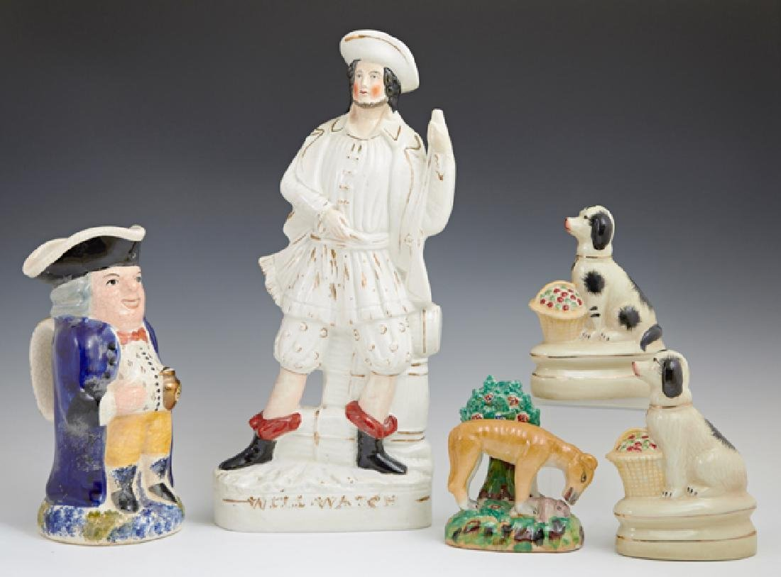 Group of Five Pieces of Staffordshire, consisting of a