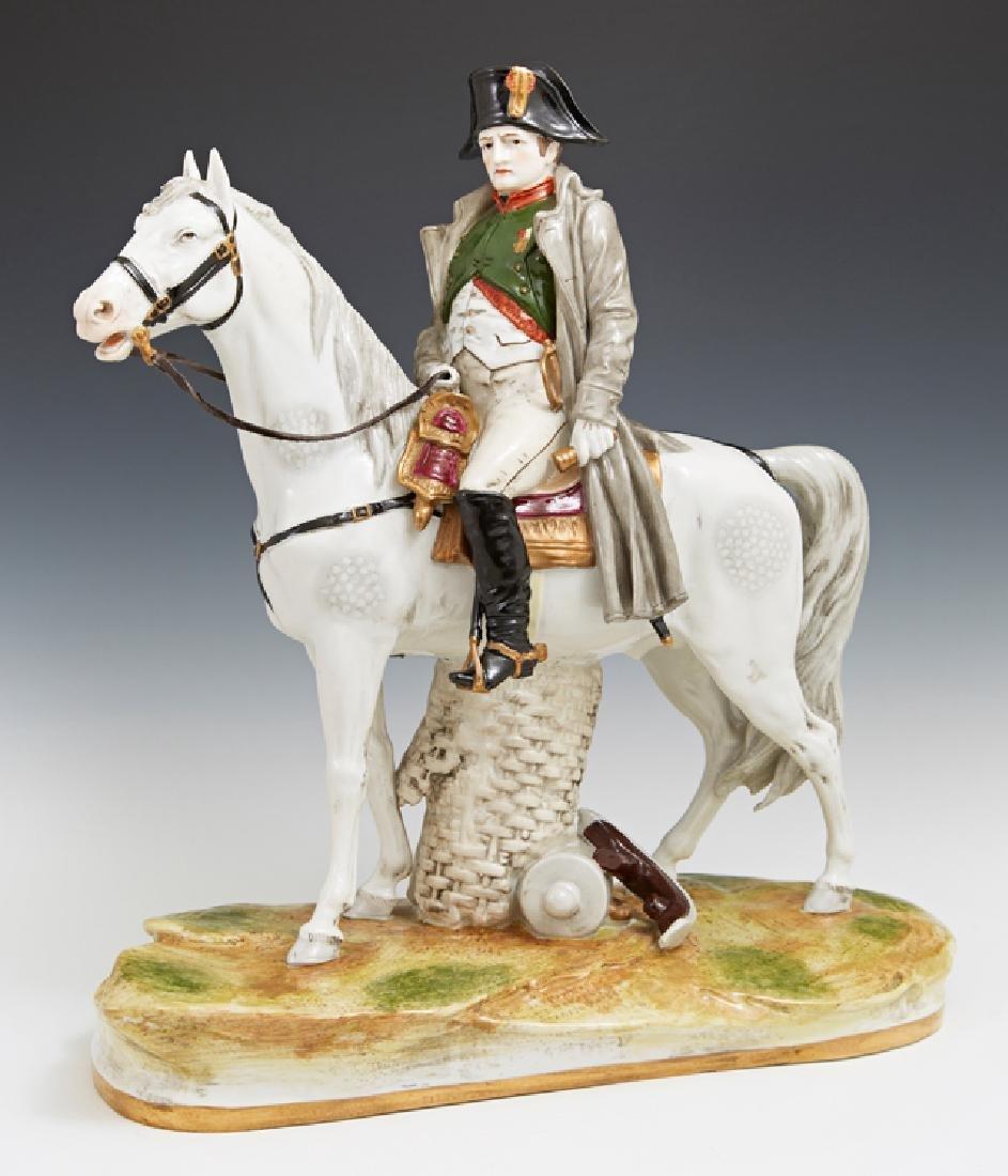 German Porcelain Figure of Napoleon on Horseback, 20th