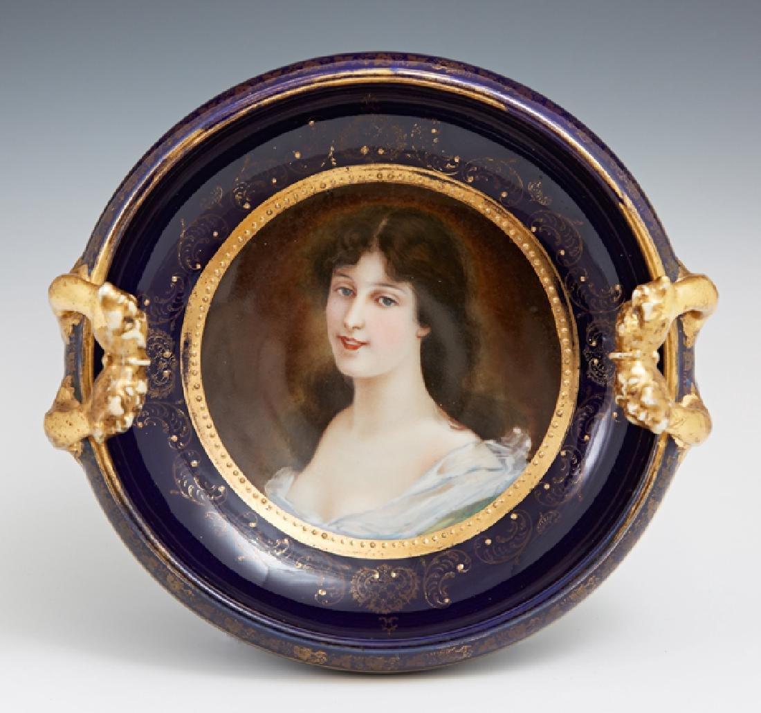 Royal Vienna Gilt Decorated Cobalt Portrait Bowl, late