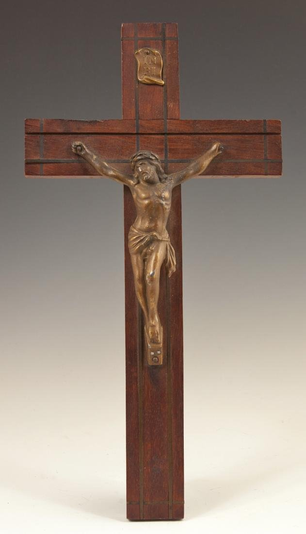 Small Gilt Spelter and Inlaid Mahogany Crucifix, early