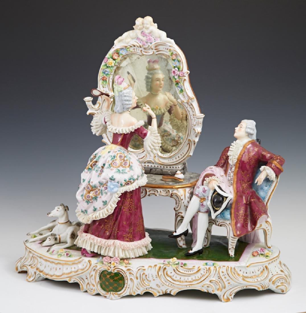 """Large Sitzendorf Porcelain """"Lace"""" Figural Group, 20th"""