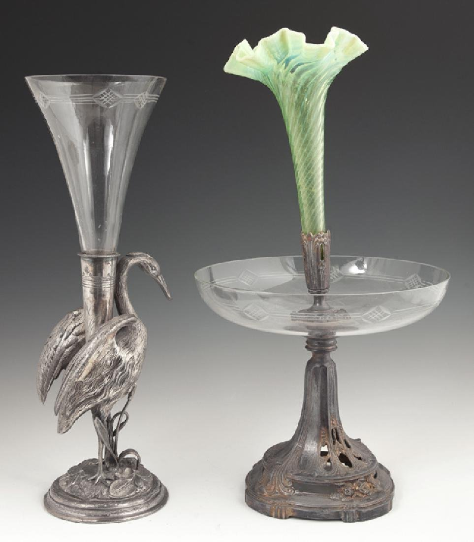 Two French Silverplated Spelter Epergnes, 19th c., one