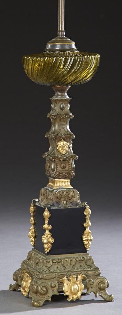 French Gilt and Patinated Spelter Columnar Banquet Oil