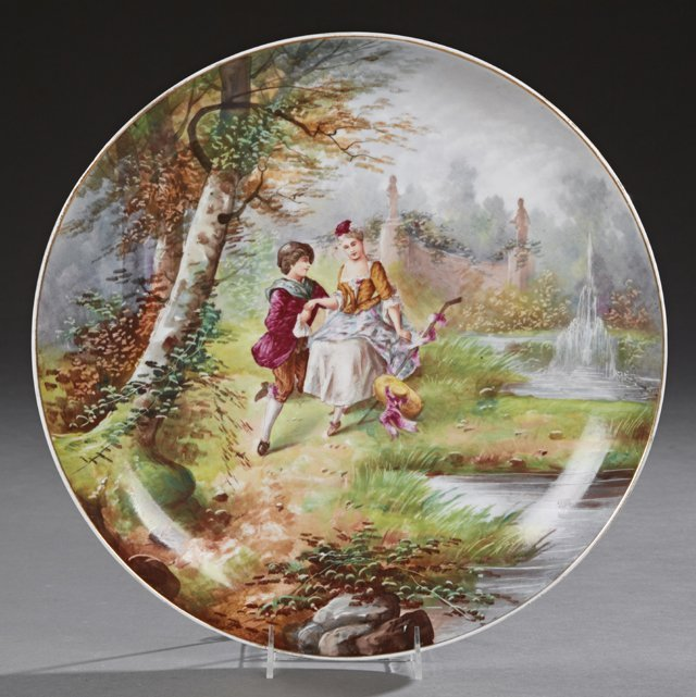 Large Hand Painted French Porcelain Charger, 19th c.,