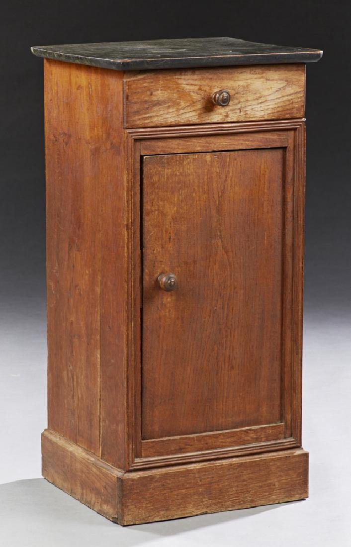 French Louis Philippe Style Carved Oak Nightstand, 19th