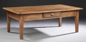 French Provincial Carved Walnut Farmhouse Table, 19th