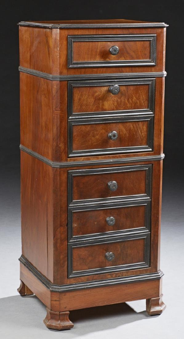 Tall French Carved Walnut Nightstand, c. 1870, the
