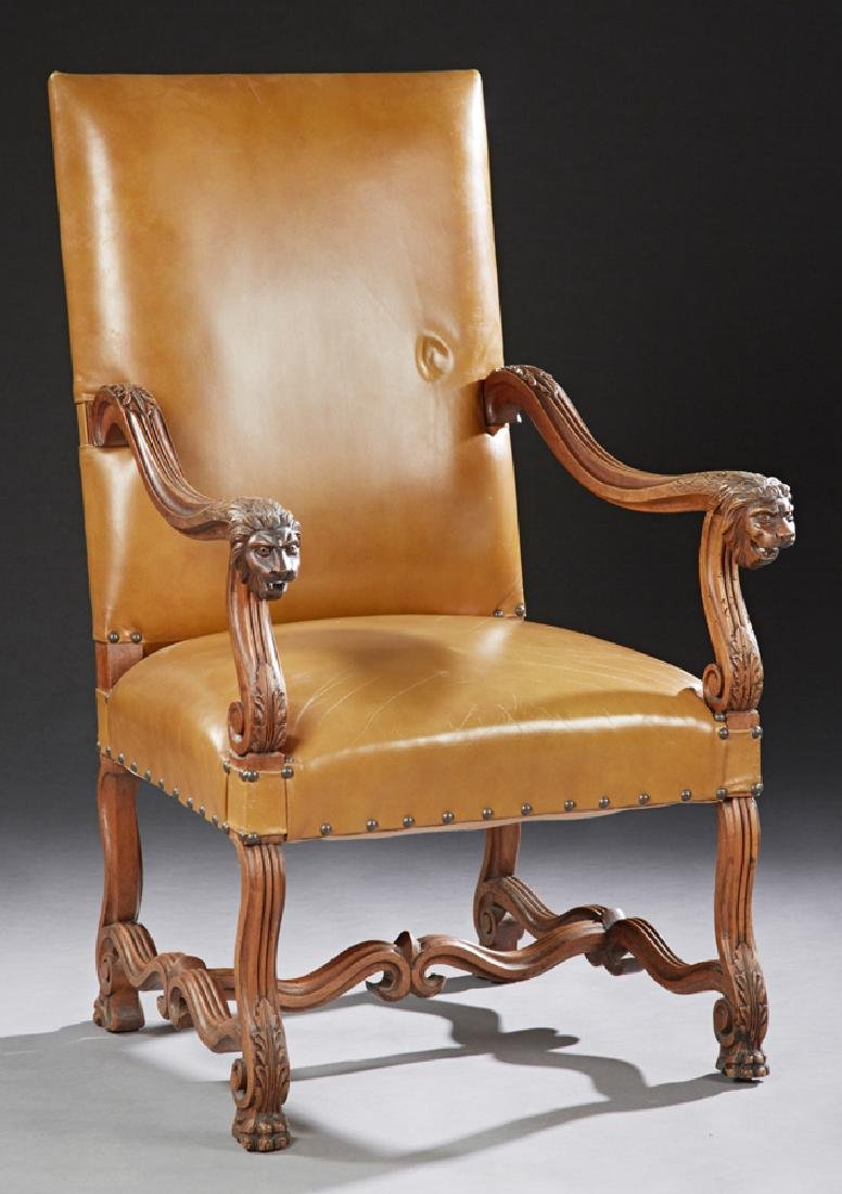 French Carved Walnut Renaissance Style Upholstered