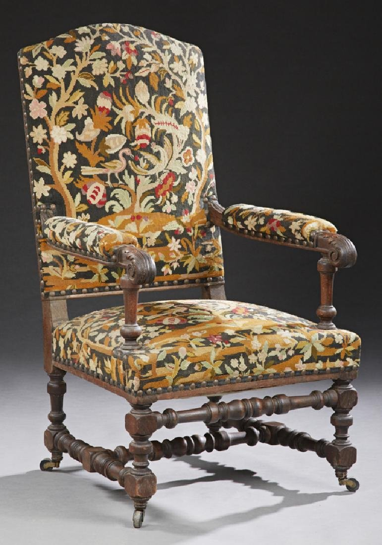 French Henri II Style Carved Oak Upholstered Fauteuil,