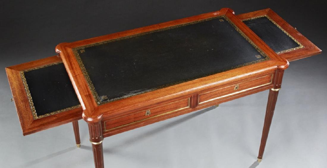 French Louis XVI Style Carved Mahogany Writing Table, - 2