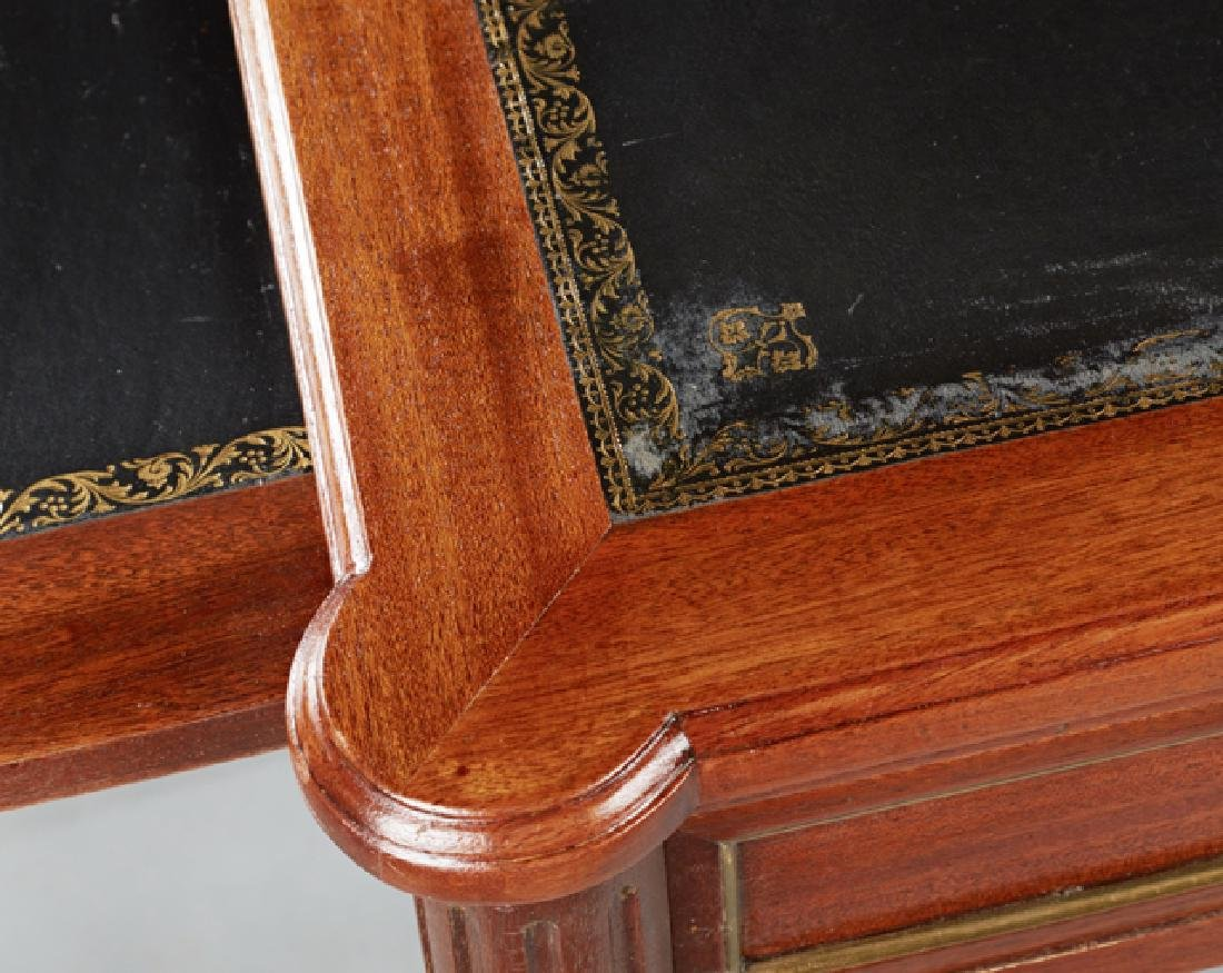 French Louis XVI Style Carved Mahogany Writing Table, - 3