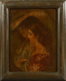 """French School, """"Portrait of a Woman in Profile,"""" mid"""