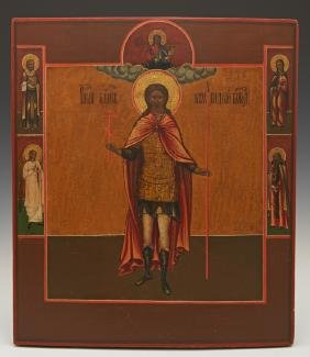 Russian Icon of Saint Andre flanked by selected Saints