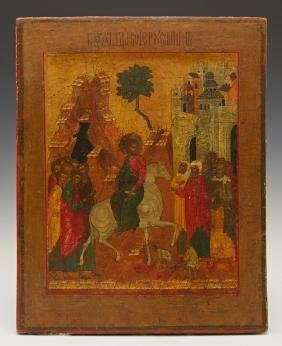 Russian Icon of the Entry of Jesus into Jerusalem, 19th