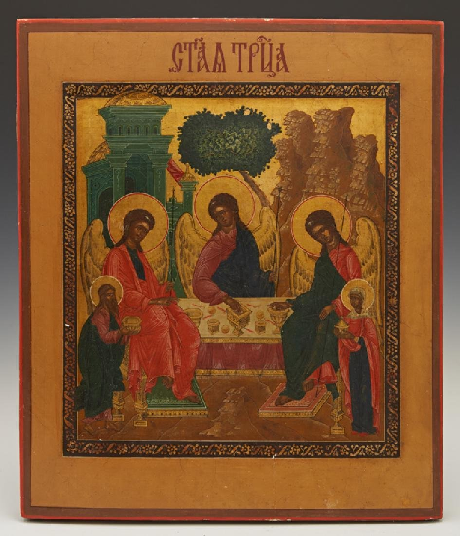 Russian Icon of the Old Testament Trinity, 19th c.,
