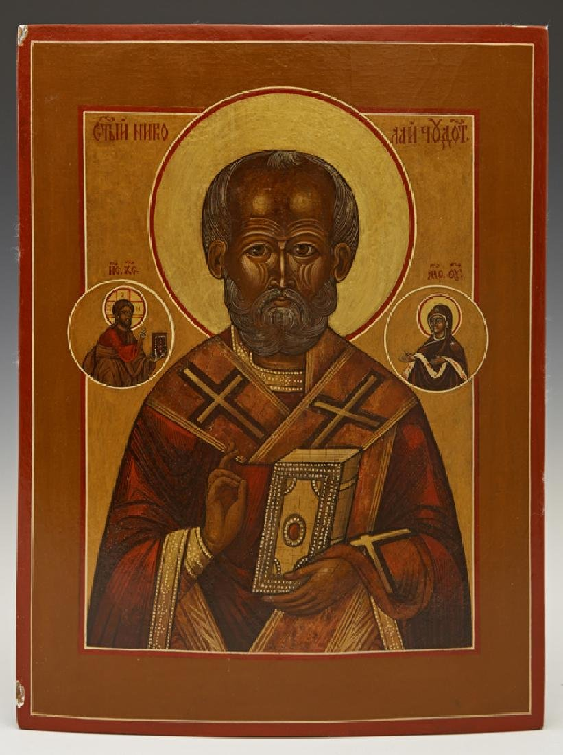 Russian Icon of St. Nicholas, 19th c., egg tempera and