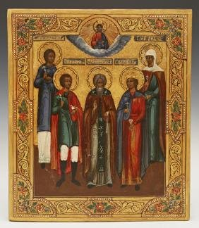 Russian Icon of Selected Saints, 19th c., depicting St.