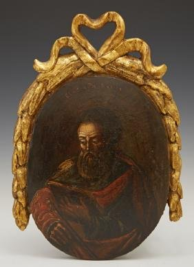 Russian Icon of St. Paul, 19th c., oil on convex wood