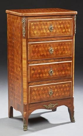 French Ormolu Mounted Louis XV Style Parquetry Inlaid