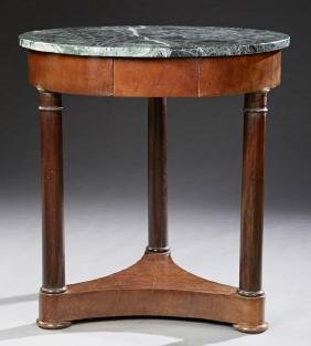 French Empire Style Carved Mahogany Marble Top