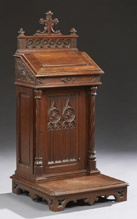 French Gothic Revival Carved Oak Prie Dieu, 19th c.,