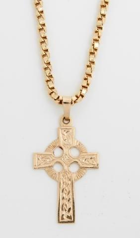 14K Yellow Gold Coptic Cross Pendant, on a 14K yellow