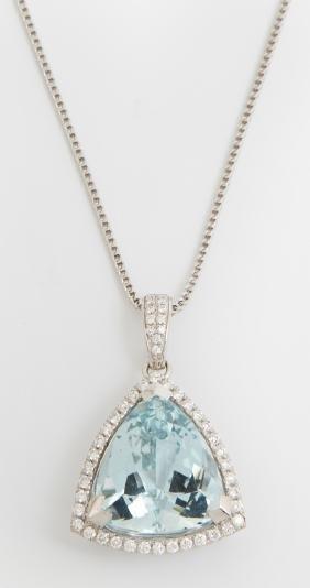 Platinum Pendant, with an 11.87 carat trillion cut