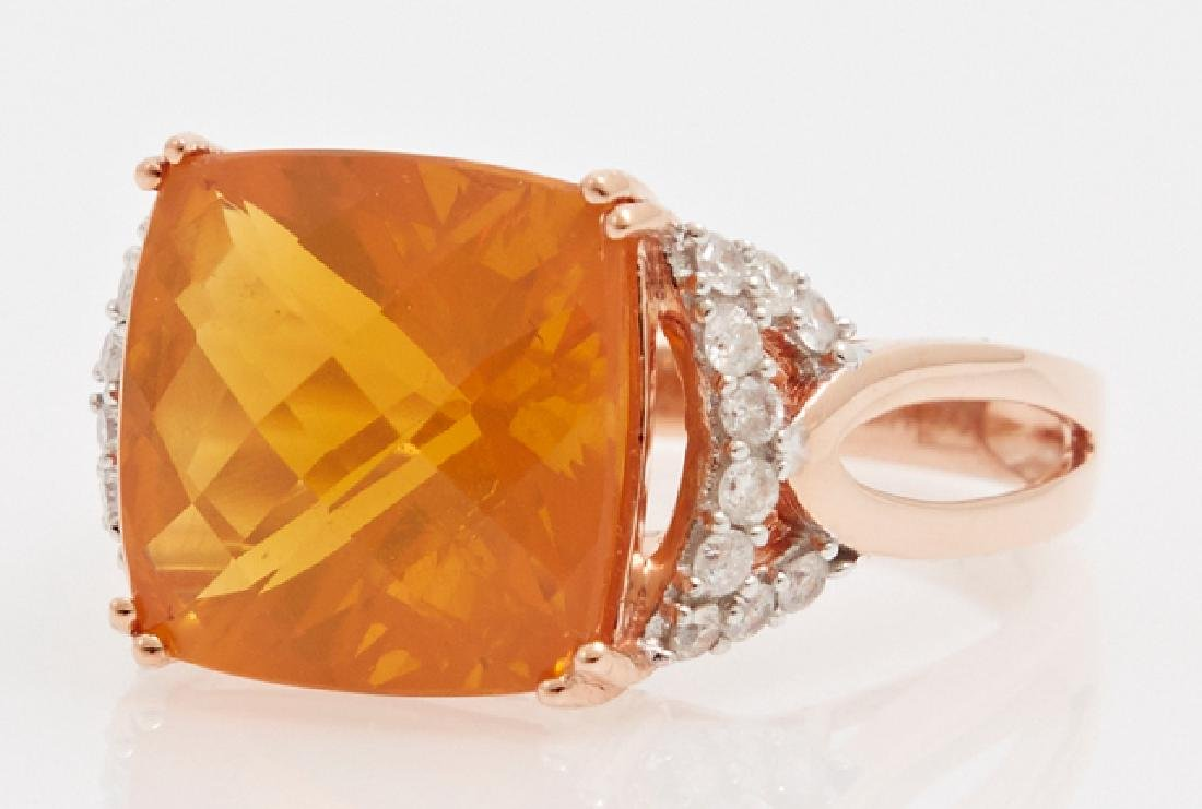 Lady's 14K Rose Gold Dinner Ring, with a 5.93 carat