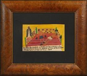 Mexican Retablo, 1959, oil on tin, giving thanks to