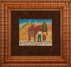 Mexican Retablo, 1950, oil on tin, gives thanks for a