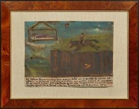 Mexican Retablo, 1945, oil on tin, giving thanks for