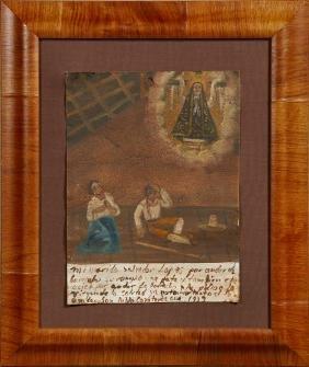 Mexican Retablo, 1939, oil on tin, giving thanks to the