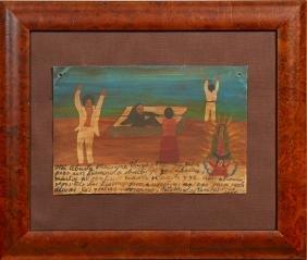 Mexican Retablo, 1947, oil on tin, giving thanks for