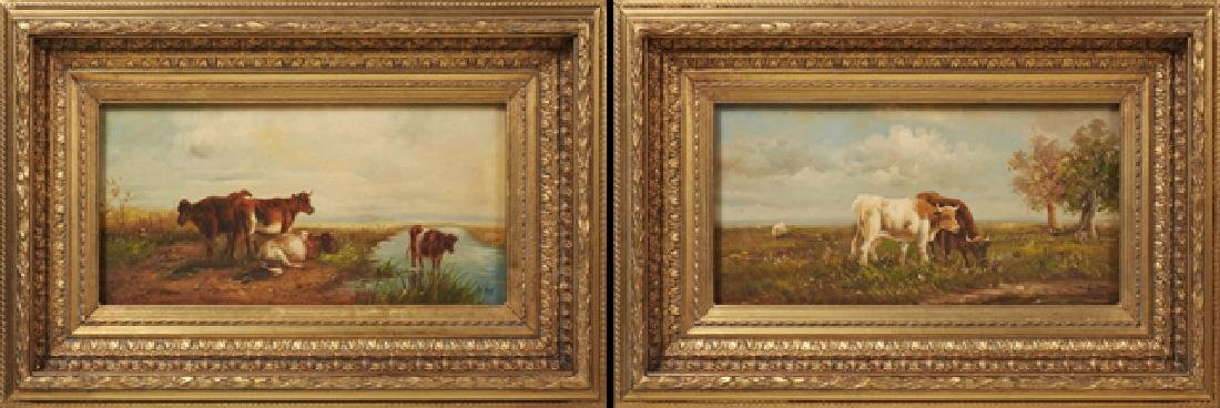 """G. Roy, """"Cows Watering,"""" and """"Cows Grazing,"""" 20th c.,"""